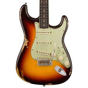 Custom Shop 1960 Relic ST Chocolate 3-Tom Sunburst Guitarra Elétrica Creme Pickups Botões, Hardware Cromo Envelhecido, V Gravar Placa Pescoço