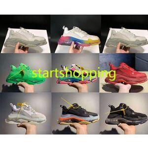 2020 Paris 17FW de cristal verde Triple Bottom-S Running Shoes Limpar Dad Sole Sapatos sapatos de plataforma por Homens Kanye Vintage Old Grandpa ins