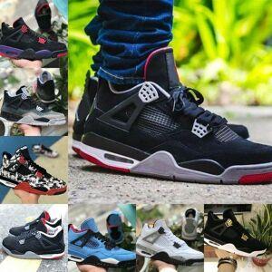 2019 New 4s Black White Graffiti Cactus Graffiti Jack Raptors OG Mens Sapatos de Basquete Designer 4 Travis Scotts Royalty Raça Retro Sapatilhas