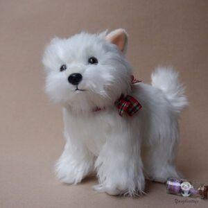 Vida Real de Pelúcia Cães De Pelúcia Bonecas Brinquedos West Highland Terrier Branco Brinquedo Crianças Presentes de Aniversário Bonito