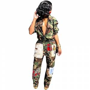 Fashion camouflage printing  patchwork sports long sleeve women casual loose jumpsuit 3454