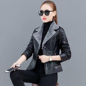 2019 New Autumn and winter Short plus velvet thick large size slim leather jacket women coat FNM2042