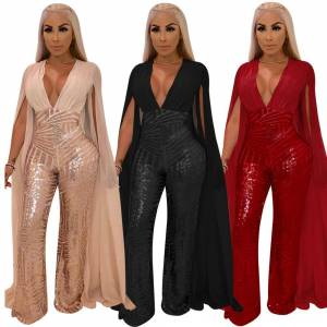 Chiffon Sequined Wrapped Rompers Bodycon Jumpsuits Women 2018 Sexy