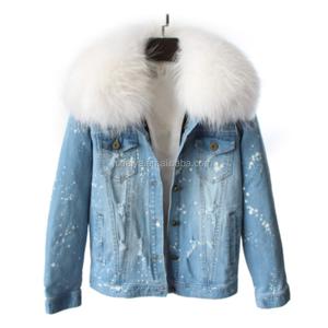 Women Winter Jeans Short Style Denim Jacket with Real Raccoon Fur Collar Fox Lining
