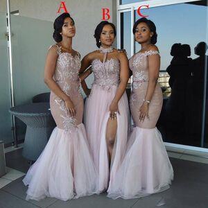 ZH0749X  Mixed Style Long Bridesmaid Dresses 2019 Floor Length Appliques Sash Robe De Soiree Prom Dress Lace Nigerian Dresses