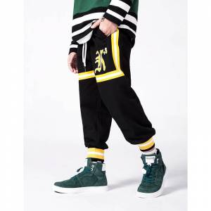 2018 autumn and winter new European and American sports pants ribbon Roman print bouquet foot   boy pants