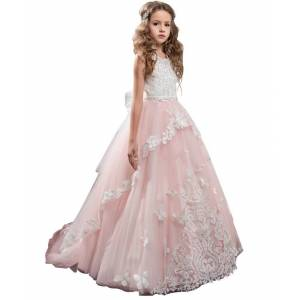 princess little girls dresses pink butterfly dresses for girls ball gown kids party dress latest flower girls dresses