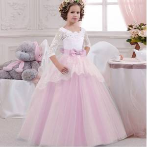 Beautiful Girls Summer Frock New Design Pink Color Child Baby Girl Maxi Party Dress LP-203