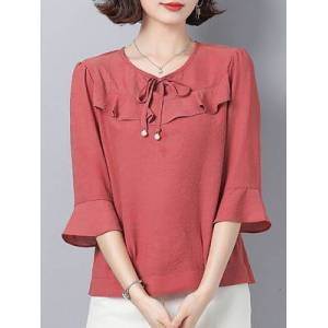 Round Neck Plain Three-quarter Sleeve Blouse