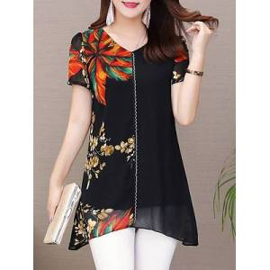 V Neck Elegant Printed Short Sleeve Blouse