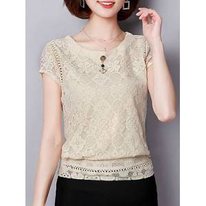 Round Neck Plain Lace Short Sleeve Blouse