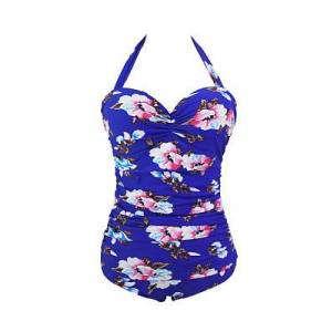 Backless Attractive Floral Printed Halter  Plus Size One Piece