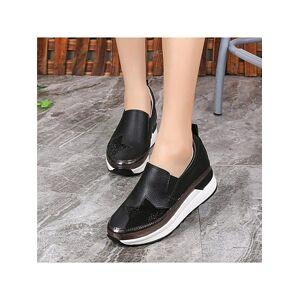 Sportive casual women's round-toe sequins platform shoes
