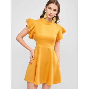 ZAFUL Tie Voltar Layered Flutter Sleeve mini vestido