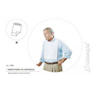 Babete Impermeável Descartável Com Bolso Rubbergold - Caixa com 100 Unidades Ref.7001