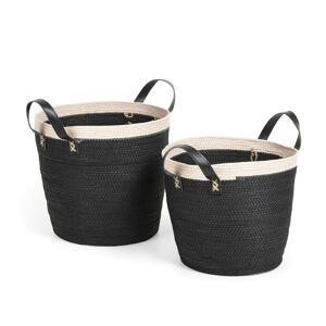 Conjunto Kysna de 2 cestas preto e bege