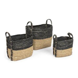 Conjunto Kysna de 3 cestos cinzento-escuro e castanho