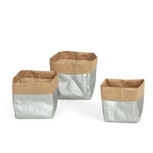 Conjunto Kamori de 3 cestas prata