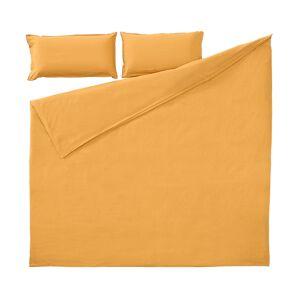 Set Ibelis de lençol,capa edredão,capa almofada 145x190cm algodão orgânico (GOTS) mostarda