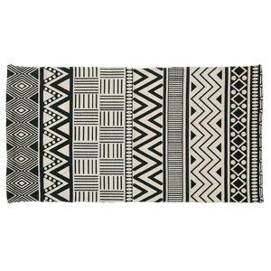Kave Home Tapete retangular Owell 60 x 110 cm de algodão branco verde