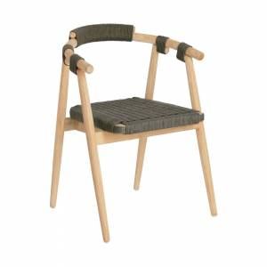 Cadeira Majela madeira maciça eucalipto acabamento efeito carvalho e corda verde FSC 100%