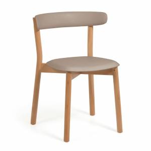 Cadeira Santina castanho e madeira maciça de faia