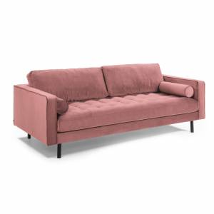 Sofá Debra 3 lugares veludo rosa 222 cm