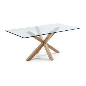 Mesa Argo 200 cm cristal pernas efeito madeira