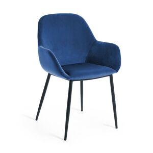 Cadeira Konna veludo azul