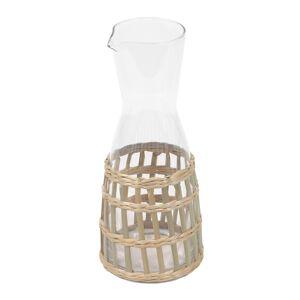 Jarro Emelia vidro transparente e fibra castanho