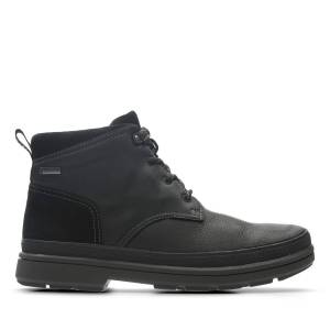 Clarks Walking Boots - Rushway Mid GTX Black Tumbled Leather