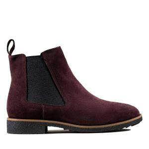 Clarks Chelsea Boots - Griffin Plaza Burgundy Suede