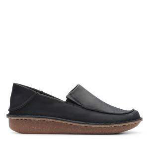 Clarks Flat Shoes - Funny Go Black Leather