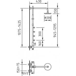 Clever - Coluna termostática de 4 jatos Mikura com kit de duche completo - CLEVER