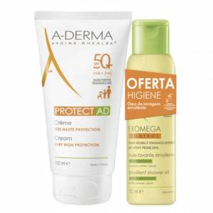 A-Derma Protect AD SPF50+ Pack Creme Solar oferta Óleo Duche Emoliente