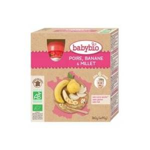 Babybio Pacotinhos Pêra, Banana e Milho Bio (a partir dos 6 meses) 4 unidades de 90g - Babybio