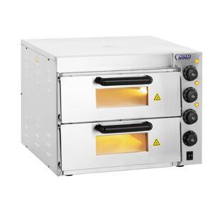 Royal Catering Forno para pizzas - 2 câmaras - fundo de tijolo refratário 10010832
