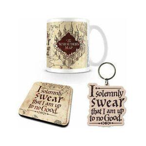 Harry-Potter Conjunto Caneca + Base de copo + Porta-chaves Harry Potter - marauder's map Gift box