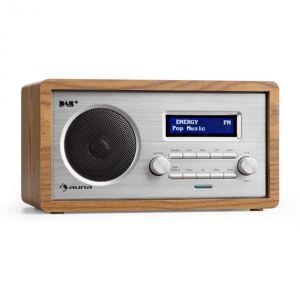 Harmonica Rádio DAB+/FM/AM Alarme Duplo Aux LCD Madeira Cor de Noz