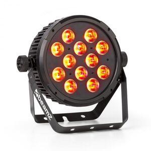 BT310 FlatPAR 12 LEDs RGBAW-UV de 8W 4 em1 DMX Comando IR