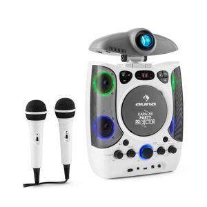 KaraProjectura Sistema de Karaoke com Projector Efeitos de Luz LED USB - branco