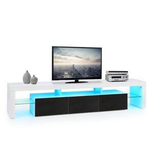 Orlando Lowboard Móvel Mesa de TV LED Colorido Controlo Remoto Branco e Preto
