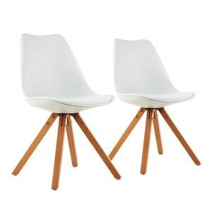 Onassis conjunto de 2 cadeiras retro com almofada em madeira branco