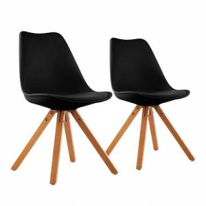 Onassis conjunto de 2 cadeiras retro com almofada em madeira preto