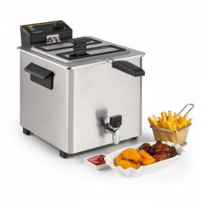 Family Fry Fritadeira 3000W Tecnologia Oil Drain Aço Inoxidável Prateada