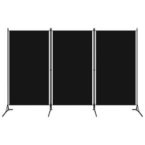 vidaXL Divisória de quarto com 3 painéis 260x180 cm preto