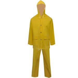 vidaXL Fato de chuva resistente e impermeável + capuz amarelo, 2 pcs, XXL