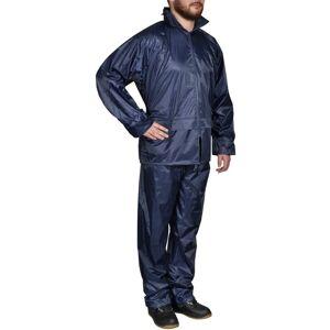 vidaXL Fato de chuva com capuz para homem 2 peças XXL azul-marinho