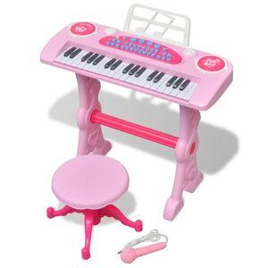 vidaXL Teclado de brincar infantil com banco/microfone, 37 teclas, rosa