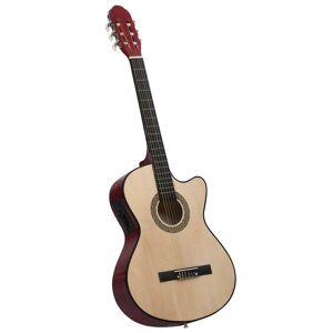 vidaXL Guitarra acústica cutaway com equalizador e 6 cordas